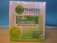GARNIER SIN NATURALS FRESH ESSENTIALS 24HR HYDRATING DAY CREAM GRAPE WATER 50ML NEW SEALED