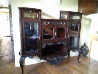 Rare Victorian ebonised walnut curio cabinet