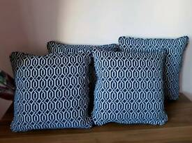 Four New Blue and White Cushions