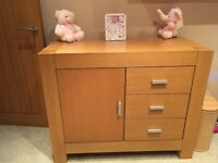 Solid Oak nursery Furniture drawer unit and cot/cot bed