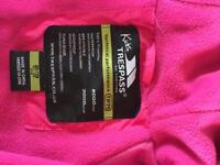 Trespass pink fleece lined all in one waterproof, Children's