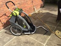 Single bike trailer in excellent condition! + attachments for running, bike and pram!