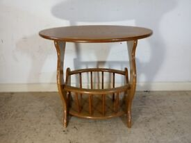 Vintage Mid Century 1960s Small Wooden Side Table Decor Stand Coffee Lamp Magazine Rack