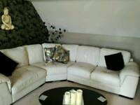 Cream Italian leather leather corner sofa