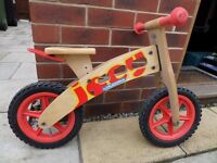 Boys Girls Wooden Balance Ride Along Bike Joey Hudora Red rrp £60