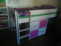 Lovely Stompa mid sleeper solid wood bed with storage #SE13 – £100 Ladywel