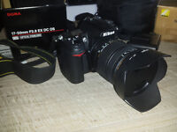 Professional DSLR Nikon D7000 full HD movies including 2 lenses, box, etc. digital camera