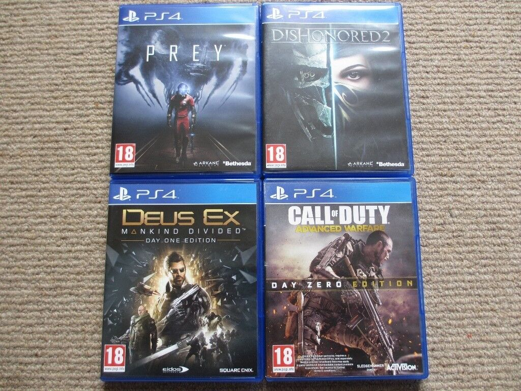 Prey, Dishonored 2, Call of Duty: Advanced Warfare & Deus Ex: Mankind Divided PS4 games for sale