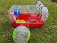 Hamster cage with exercise ball - £10