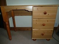 Pine dressing table / desk / storage with 3 drawers