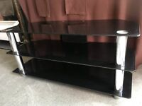 Black Glass and Chrome Legs TV Stand for 50+ inch TVs