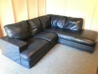 ** Large Dark grey blue , full leather corner Sofa Suite