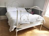 White/Ivory Metal Double Bed Frame