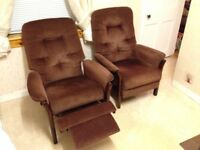 2 x brown fabric recliners.