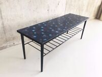 1970's mid century vintage coffee table coloured tiled top