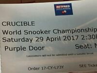 Snooker World Championship semi-final tickets for Saturday