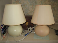 Lot of 3 small ceramic globe shaped touch sensor lamps, 2 cream and 1 peach