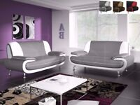 🔥GREY AND WHITE🔥ITALIAN LEATHER🔥NEW CAROL 3 SEATER AND 2 SEATER SOFA SET IN DIFFERENT COLOURS