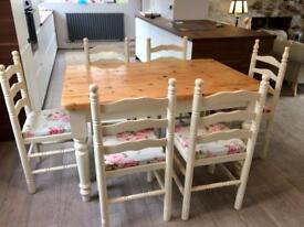 Shabby chic solid pine dining table with 6 chairs in Farrow&Ball
