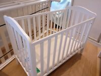 White Cot with organic mattress