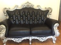 Rococo suite 3-2-1 Black leather & diamonds