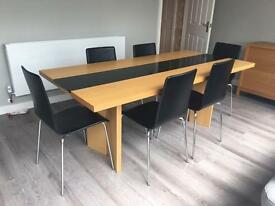 Terence Conran Stripe Dining Table, Oak with Solid Black Granite, with 6 Black Leather Chairs