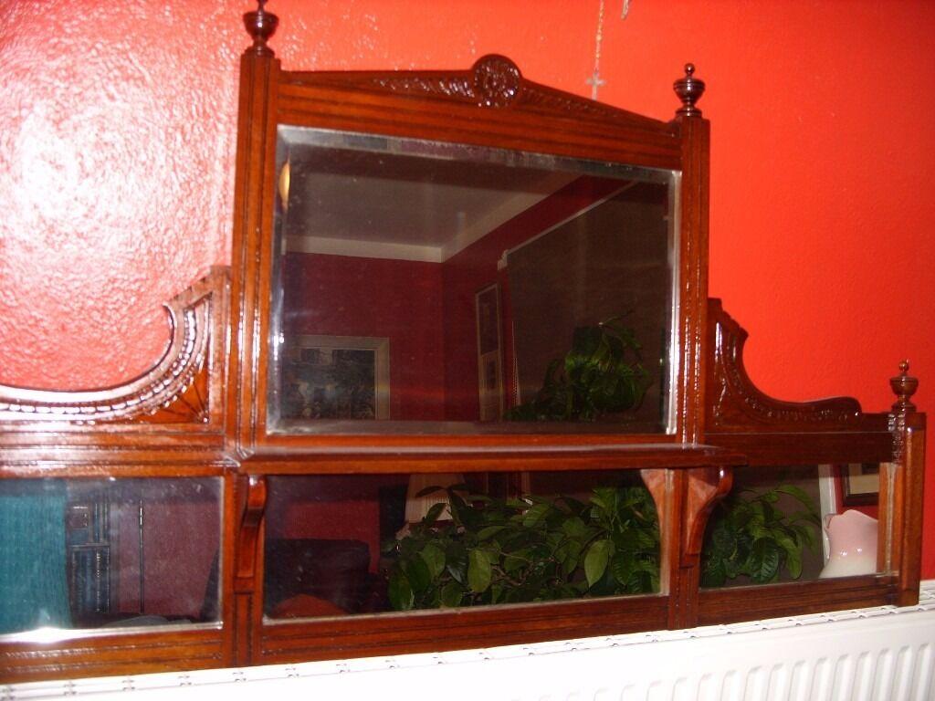 Antique Mahogany Wall Mirror Edwardian Mirror C1925 Overmantle