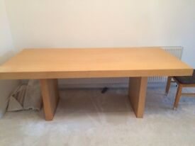 Wood block dining table in excellent condition. Length 79inches (200cm) Width 35.5 inches (90cm)