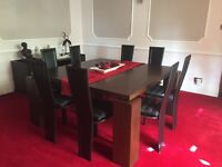 Mahogany Colour Dining Table, 8x Leather Chairs & Matching Sideboard