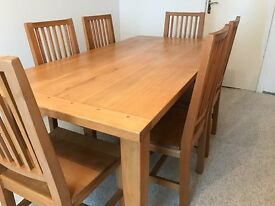 Solid beechwood table with 6 chairs and sideboard
