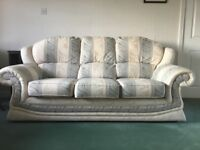 Bargain, As new 3 seater sofa & 2 armchairs Regency ivory stripe damask fabric immaculate condition