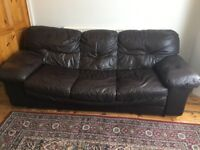 FREE brown leather sofa 3 seater