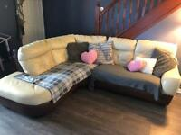 Dfs corner Sofa and matching pouf