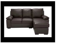 Brand New Chocolate Leather Chaise Sofa