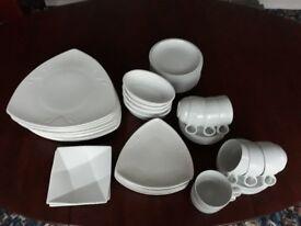 44 pieces of white crockery