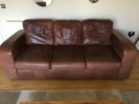 Tan leather 3 seater sofa and armchair