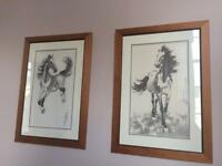 Horse prints in wooden frames