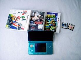 Nintendo 3DS Aqua Blue + 5 Games + Charging Cable + Spare Styluses + 2GB SD Card