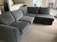 Grey left facing corner sofa