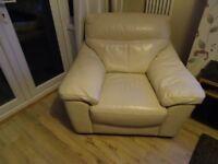 Italian Leather Three Seater Sofa plus Armchair
