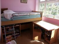 Cabin Bed Midsleeper, Pull Out Desk, Chair, Storage & Bookshelves Suitable 4 - 18 yrs Mattress Incl.