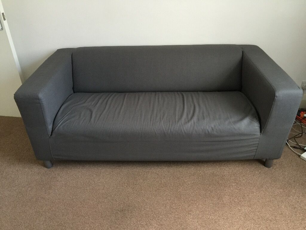 Ikea klippan two seat sofa flackarp grey in kingston for Ikea gray sofa