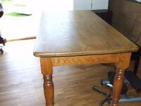 DINING TABLE SOLID OAK HEAVY 1 PIECE GOOD CONDITION FREE EDINBURGH DELIVERY