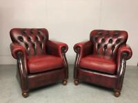 STUNNING PAIR THOMAS LLOYD CHESTERFIELD GENTLEMAN'S CHAIRS IN AN OXBLOOD LEATHER
