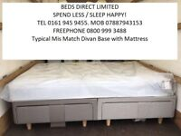 Silentnight New King-Size Drawer Divan Base with a Regular or Pocket-Sprung or Memory-Foam Mattress