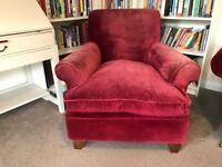 Sofa . com Armchair in Cotton Red Matt Velvet