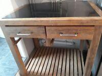 Solid wood black granite top kitchen unit
