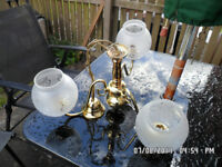 3 LAMP-GOLD HANDELIER-BEAUTIFUL GLASS