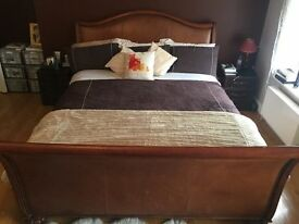 Harrods Hardwood and Leather Sleigh Bed Frame
