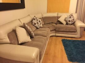 Corner sofa and two seater sofa plus foot stall from pet and smoke free home